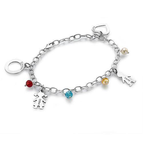 Sterling Silver Mother's Charms Bracelet | MyNameNecklace