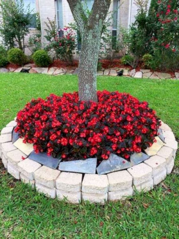 Pretty Flower Beds Around Frontyard Ideas