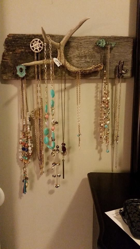 Barn wood, deer antler jewelry holder...( homemade by Kayla and her Dad)