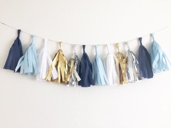 Navy, White, Light Blue, Gold Tissue Tassel Garland ~ Royal Prince Birthday ~ Navy and Gold Party ~ Navy and Silver Party ~ Royal Prince