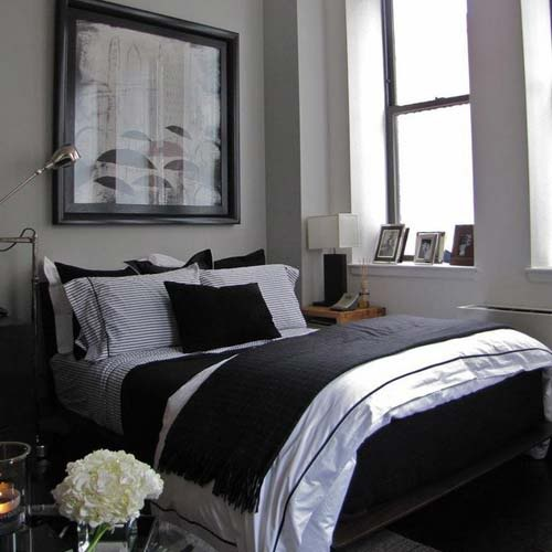Merveilleux Dark, Masculine Bedroom Decor. Neutral Bedding.