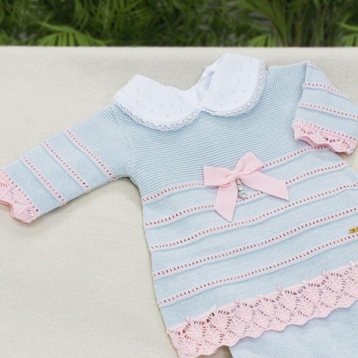 Saída de Maternidade Vestido Barra Rendada Azul Claro
