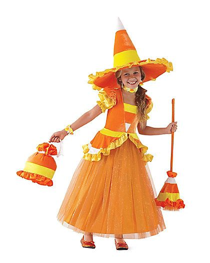 Candy Corn Witch girls costume. Halloween in Candy Corn Hollow Theme Party & Decorating Ideas