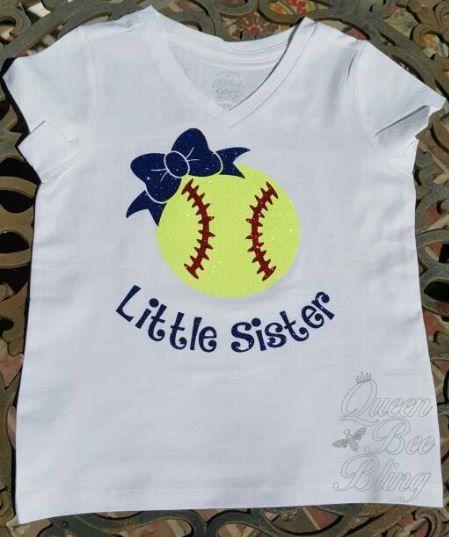 Softball Little Sister Shirt Glitter Vinyl by TheQueenBeeBling