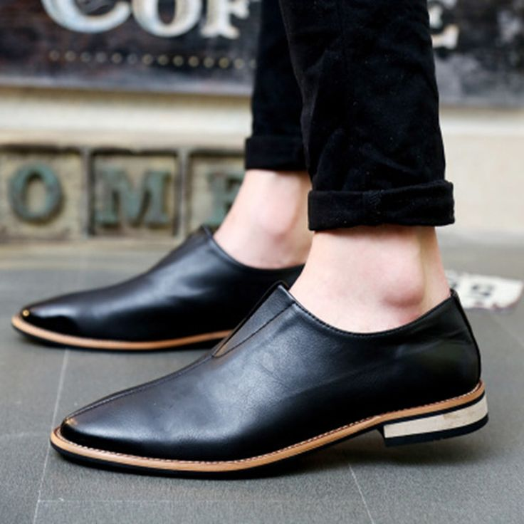 Shoes - Black Slip on Leather Loafers for Men