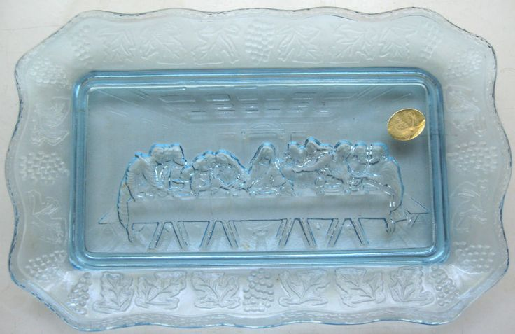 Tiara Indiana Glass Ice Blue Lord's Supper Bread Tray #IndianaGlass