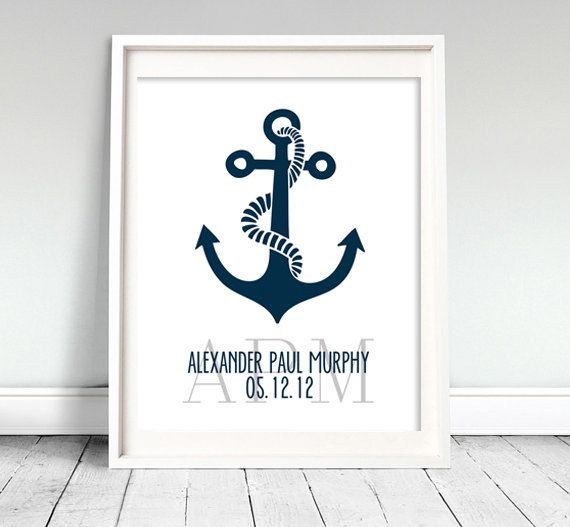 Nautical Nursery Art Print Printable by Classicology on Etsy, $7.00 STEPH!!!! THE ANCHOR!!!!