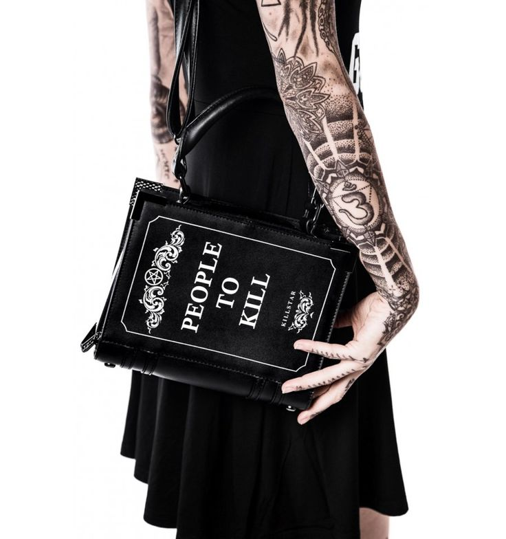 Book-style handbag by goth apparel brand Killstar, with Kill List print and metal corners. Of course 100% vegan leather.