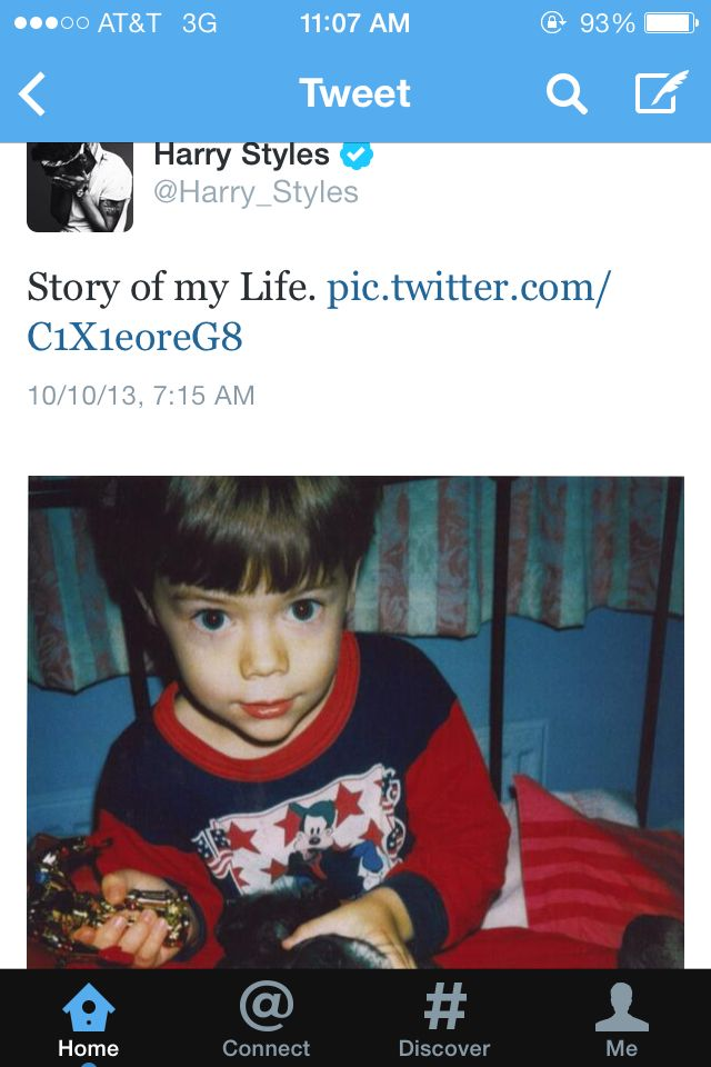 "Harry's tweet talking about ""Story of my Life."" His picture is too"