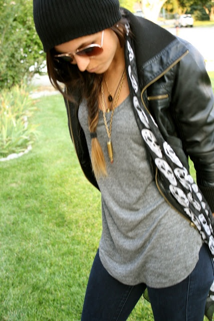 grey t: zara, leather jacket: f2, scarf: amazon, jeans: true religion, shoes: converse, beanie: amazon, sunnies: f21