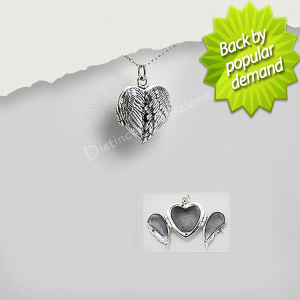 Large Solid 925 Sterling Silver Angel Wings Heart Locket Pendant