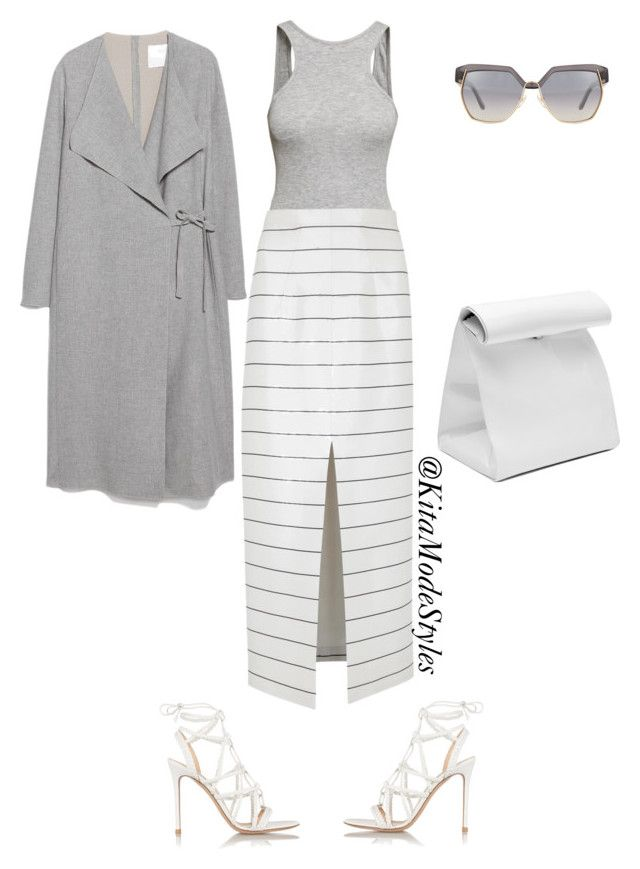 Grey x White by kitamode on Polyvore featuring MANGO, Emilia Wickstead, H&M, Gianvito Rossi and Chloe