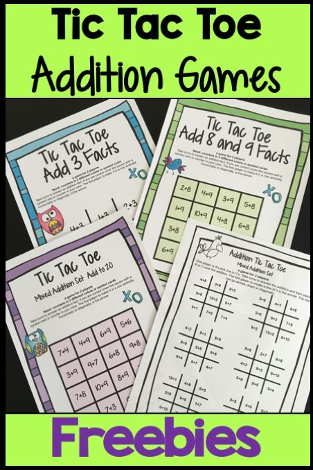 FREEBIES - Addition Facts Tic Tac Toe Math Games Freebie from Games 4 Learning…