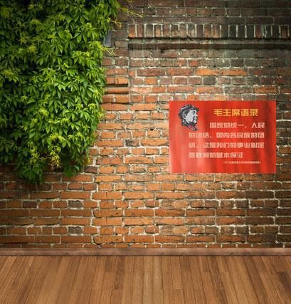 Wood Floor Backdrop Wood Flooring Green Vines And Propaganda On The Red Brick Wall Paper Cm-4289