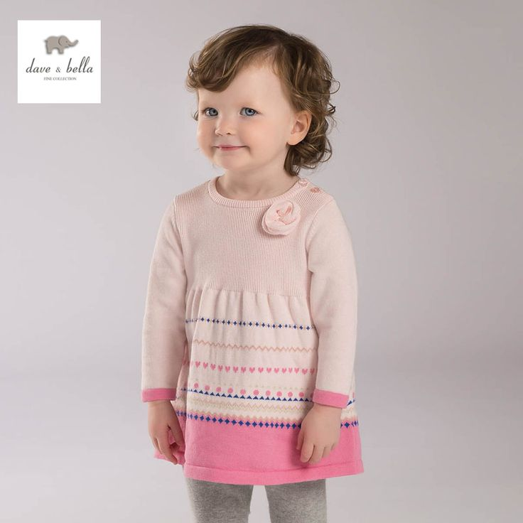 ==> [Free Shipping] Buy Best DB0478 davebella spring girls knitted dress striped pink dress fancy dress baby girls boutique dress Online with LOWEST Price   32788924123