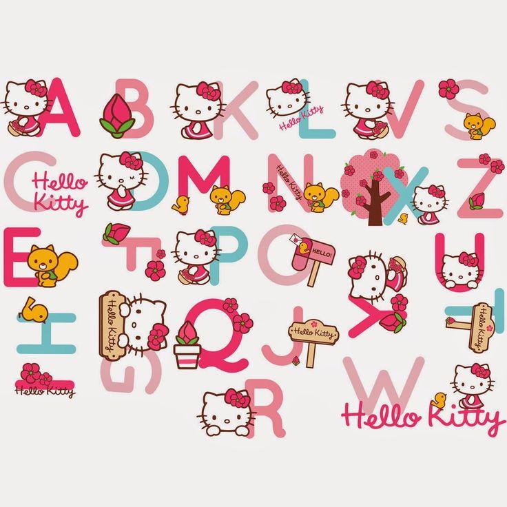 Alfabeto de Hello Kitty con Accesorios.                                                                                                                                                                                 Más