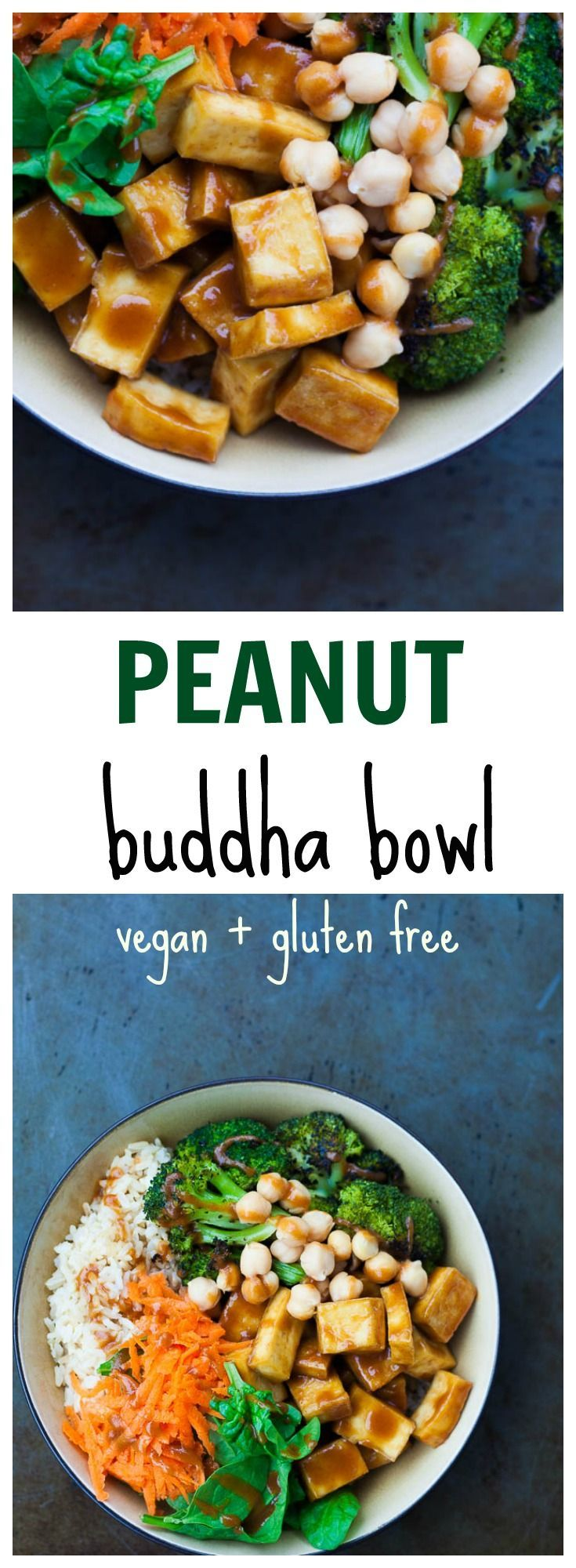 Peanut Buddha Bowl with perfectly crispy, chewy no fry tofu and simple roasted broccoli.