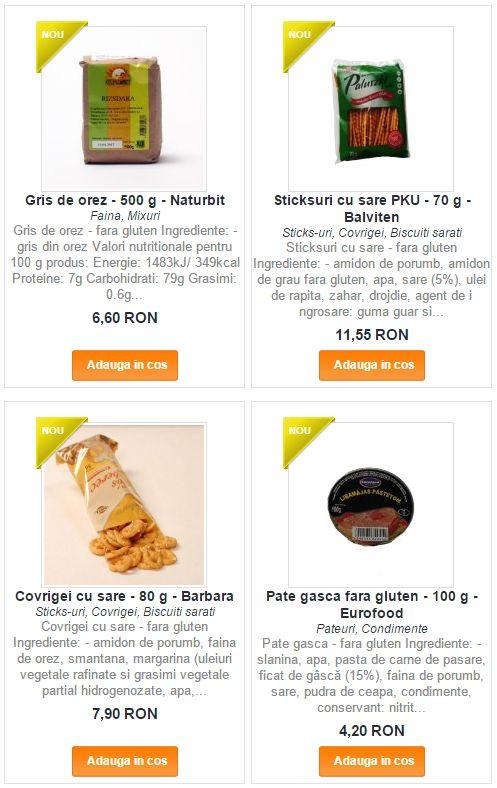 Nou! O gama larga de produse pentru celiaci - fara gluten si/sau PKU
