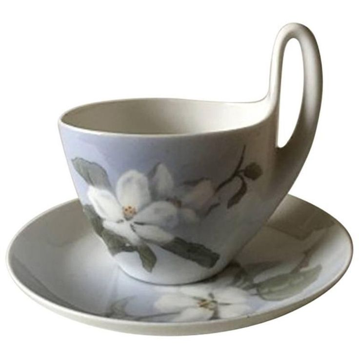 Early 19th Century Royal Copenhagen Art Nouveau Small High Handled Cup and Saucer No. 1242/4 |-  Danish Porcelain Hand Painted Teacup and Saucer, circa 1923-1934.