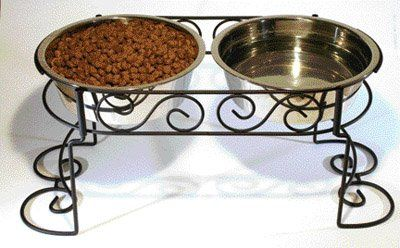 $23.27-$36.49 Mediterranean old world stainless steel double diner. The hand crafted scroll work design with a beautiful black powder coat finish that will complement any home decor. Raised elevation allows pets to eat at a proper height for better digestion.  Hand Cra