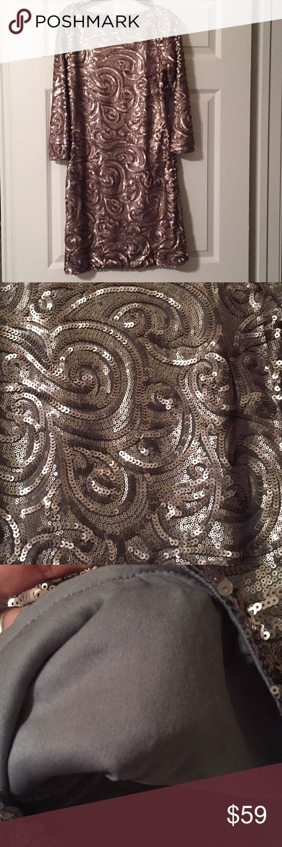 New Year's Eve sequin dress size M by SugarLips Champagne brown metal sequin dress by SugarLips in  Multi tone swirls size medium Worn once for a wedding Will fit someone who wears a small but won't be as form fitting  Perfect New Year's Eve dress! Price firm Sugarlips Dresses