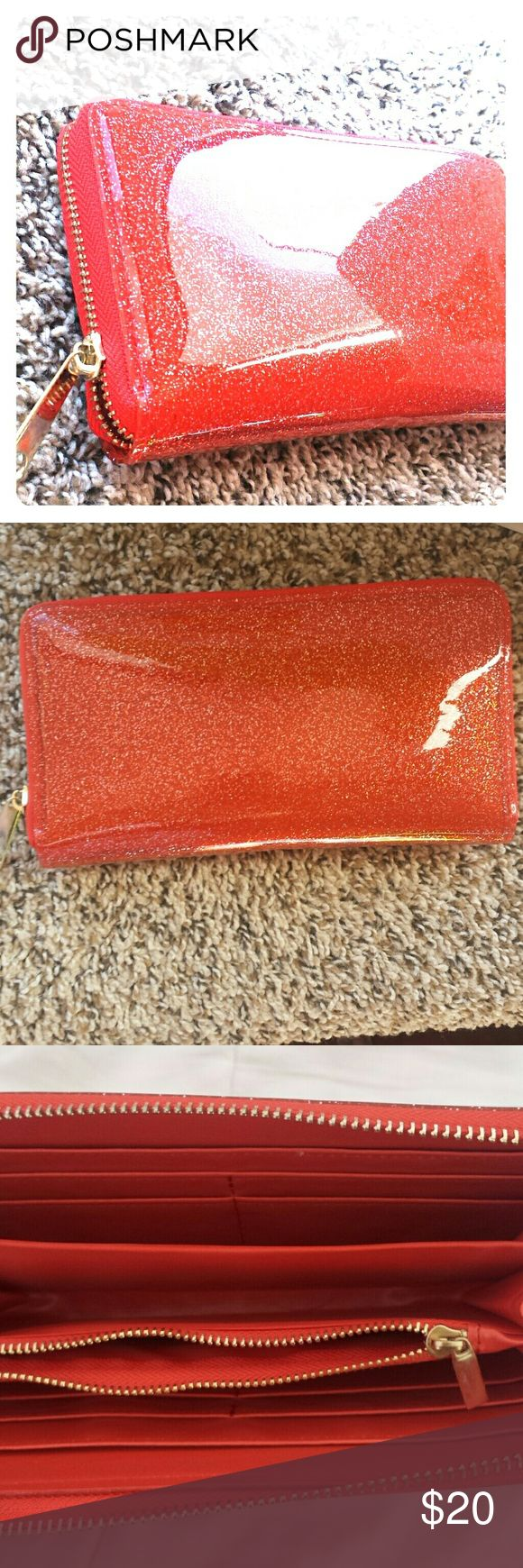 Melie Bianco Red sparkly Melie Bianco wallet. I bought 2. I kept one (first 3 pics) and I'm selling the other (last pic). LOVE this wallet. It has 8 card slots, 5 compartments for cash, receipts, change, etc. I always get complements on this one! Melie Bianco Bags Wallets