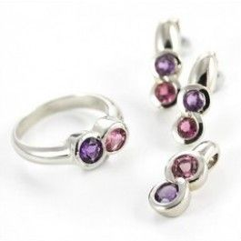 Seagull Gifts | Amethyst and Tourmaline White Gold Ring, Earrings and Pendant Set | seagullgifts.com.au