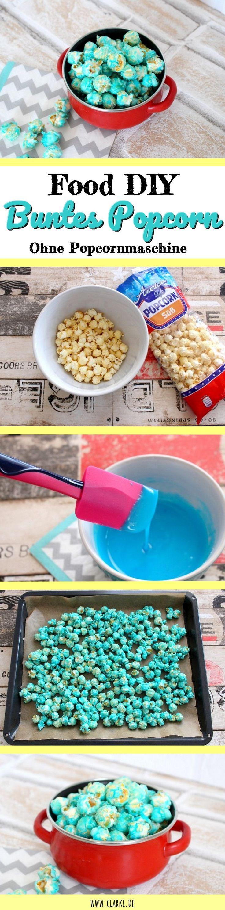 DIY Food: Buntes Popcorn ohne Popcornmaschine selbermachen – clarki Das alles geht ohne Maschine oder Topf oder Öl. Natürlich ist diese Food Idee für Faule und wir verwenden fertiges Popcorn ;) Das geht schneller, schmeckt aber genauso gut und sieht einfach super aus auf dem Buffet oder der Geburtstagstafel.