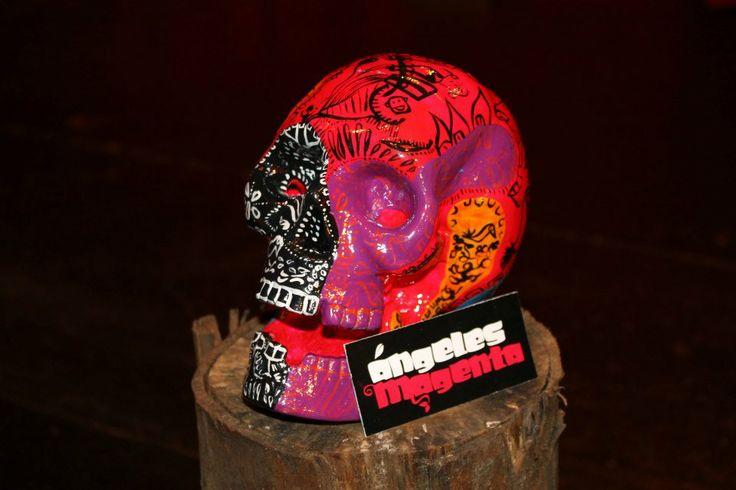 """Calavera intervenida por Ángeles Magenta para la primera edición de """"Marcando Calavera año 2012"""" evento de la marca Angeles Magenta #skull #art"""