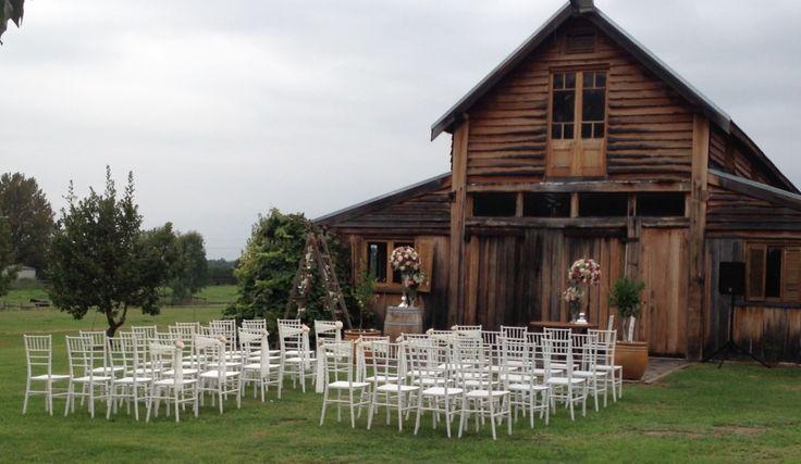 A ceremony set up for a wedding at Sunnybrook Barn. #sydneypoloclub