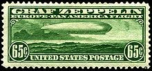 65 cent US Postage stamp featuring the Graf Zeppelin airship with Chicago and Friedrichshafen, 1933