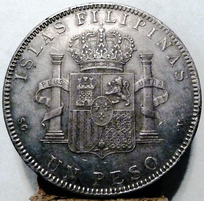 3 March 1898 - - Fernando Primo de Rivera, Governor-General of the Philippines, informs the Spanish government in Madrid that the U.S. Asiatic Fleet has orders to attack Manila, capital of the Philippines, in the event of war. - 1897 Silver Philippines Un Peso Reverse