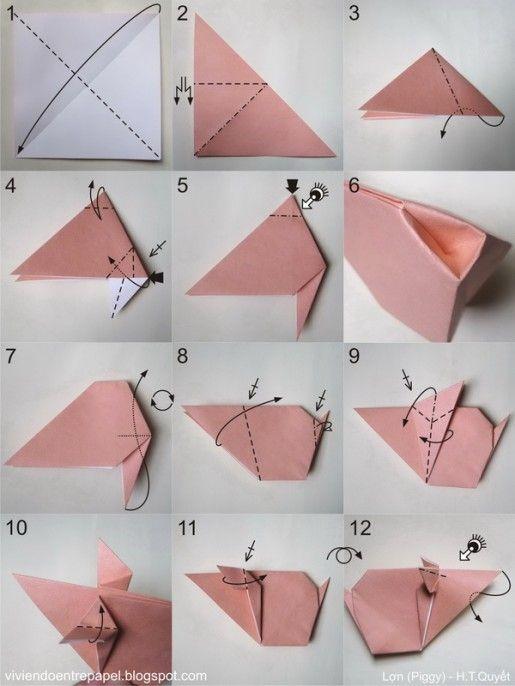Схема оригами свинка.