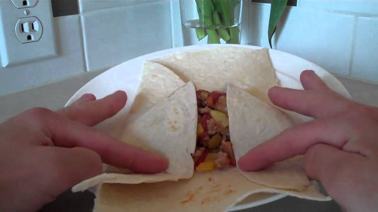 Directions on how to fold a tortilla. Yum!