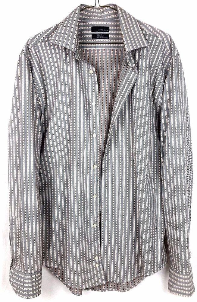 ZARA MAN Black Label Slim Fit Striped Long Sleeve Shirt sz XL #Zara #ButtonFront