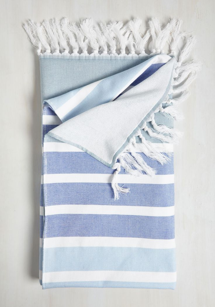 La Plage by Page Beach Blanket - Blue, Multi, Stripes, Beach/Resort, Better, Cotton, Fringed, Daytime Party