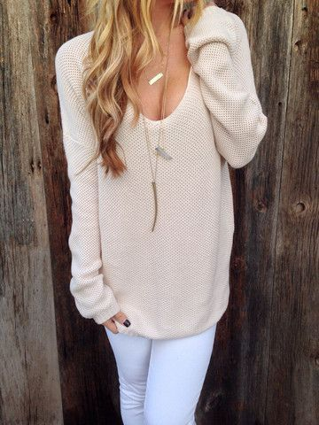 Slouch-Style Open Neck Sweater.