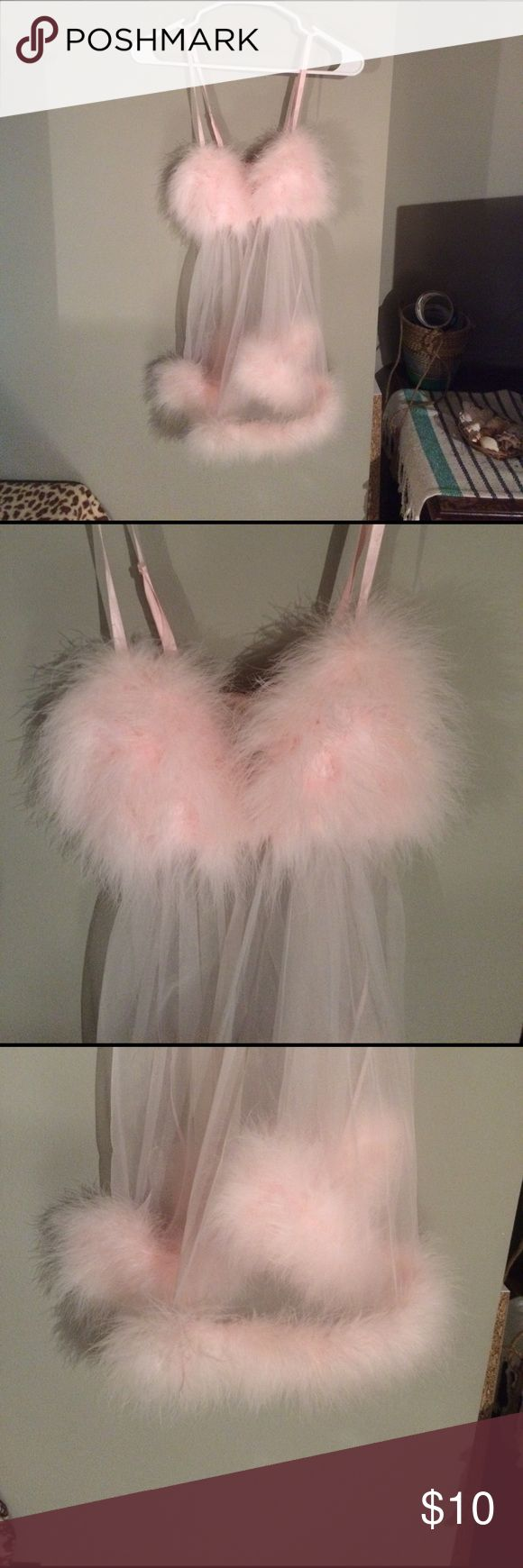 Fun, Fuzzy, Pink Lingerie Fuzzy pink lingerie. Fuzzy around the bottom and then triangle chest area. See through pale pink lace. Frederick's of Hollywood Intimates & Sleepwear