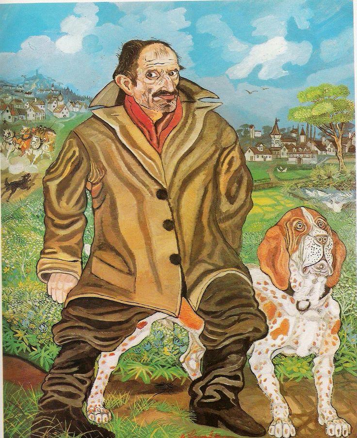 Antonio Ligabue (1899-1965) Self-portrait with dog (1957)