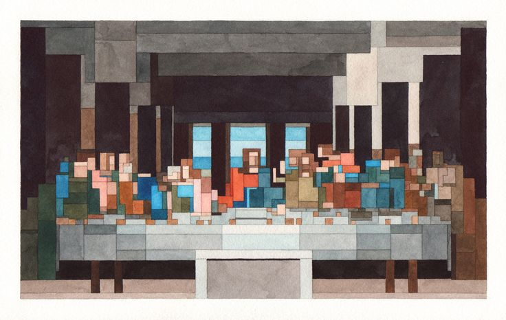 Art History Pixelated : New Watercolour Paintings by Adam Lister | Yatzer