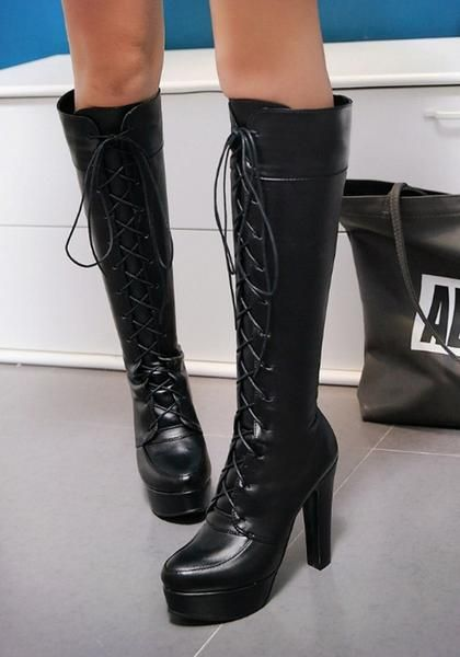 c0e9af8691e Black Round Toe Chunky Lace-up Fashion Knee-High Boots in 2019 ...