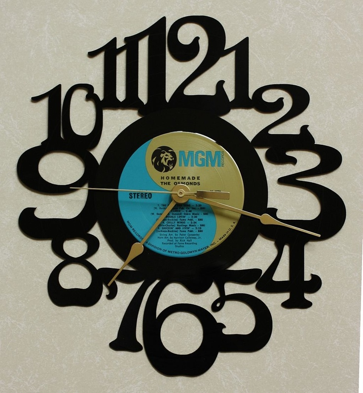 ~ HOMEMADE ~ Wall Clock made from the Vinyl Record LP ~ Recycled LP Vinyl Record/Album Clock