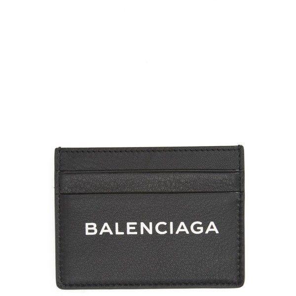 Women's Balenciaga Logo Leather Card Case (€240) ❤ liked on Polyvore featuring bags, wallets, balenciaga wallet, slim leather wallet, card case wallet, slim card case wallet and 100 leather wallet