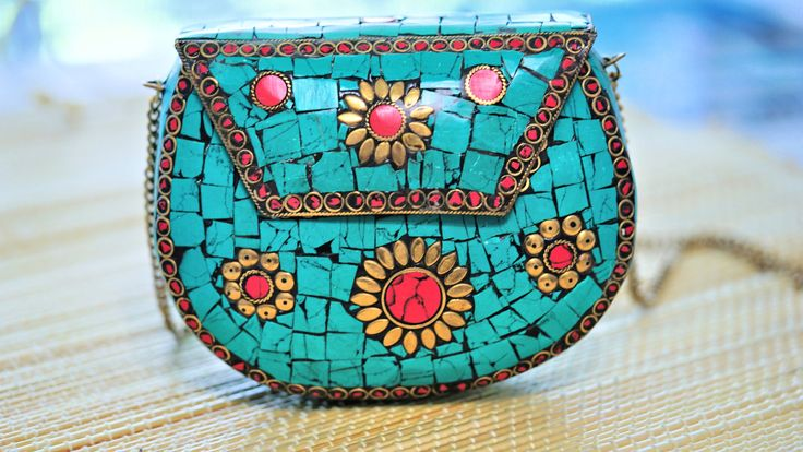 Beautiful clutch,Metal clutch,India inspired metal Kuchi clutch,Formal purse,Metal turquoise clutch,Formal clutch,Handbags,Vintage clutch by ZsTribalTreasures on Etsy