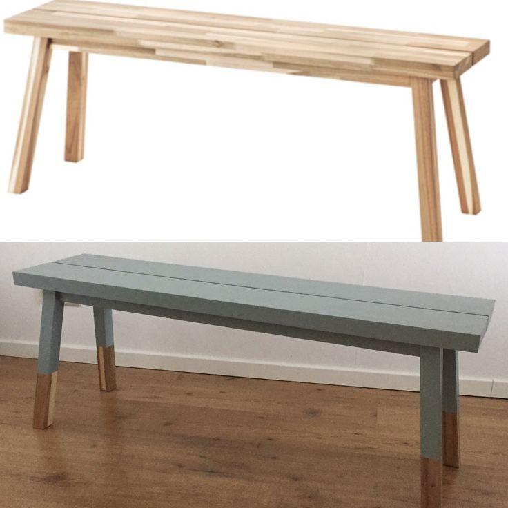 DIY restyle Ikea skogsta bankje. Geverfd met gamma lak 'nieuws' GN-120-06.