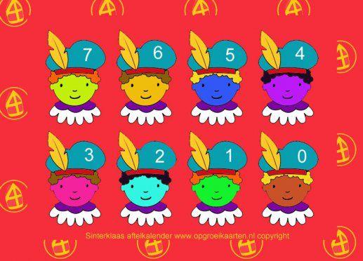 Gekleurde piet, aftelkalender Sinterklaas