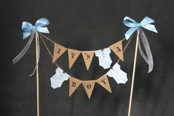 Baby shower cake topper It's a boy cake bunting baby by SoLuvli
