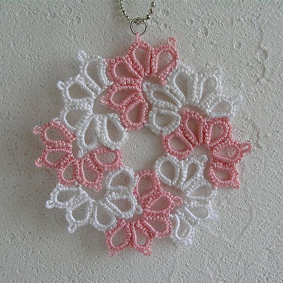Tatted Lace pendant Tatting Frivolite pendant pink and by MyWealth