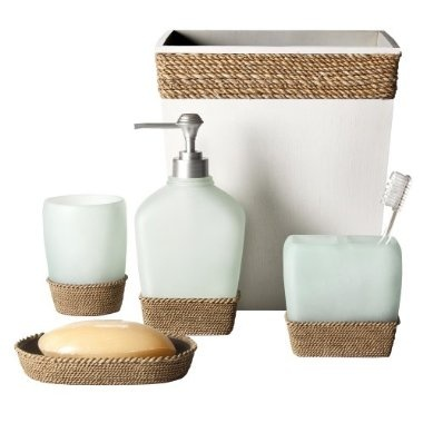 New house master bathroom idea... all beach theme... specifically Newport Beach themed.  This set is nice and neutral, allowing for other decor elements to be swapped out with ease.
