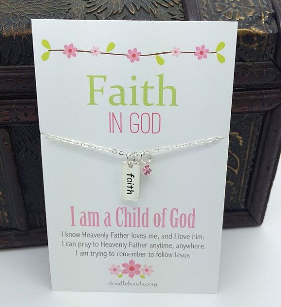 Faith in God Necklace Tiny Silver Bar hand stampled by doodlebead
